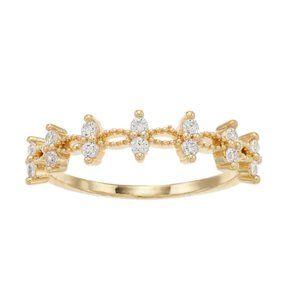 LC Lauren Conrad Gold Tone & Cubic Zirconia Ring